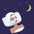 Milk Natural Day Mask on Beautiful Woman Face, Illustration Vector Design
