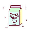 Milk package line vector icon.