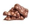 Milk porous chocolate isolated on white background Royalty Free Stock Image