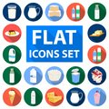 Milk product flat icons in set collection for design.Milk and food vector symbol stock web illustration.
