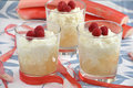 Milk rice pudding with raspberries and rhubarb Stock Photos