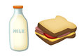 Milk and Sandwich Stock Images