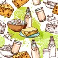 Milk seamless pattern with sketch healthy dairy products vector illustration Royalty Free Stock Photo