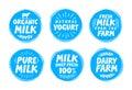 Milk set icon, label, element. Dairy food emblem, template, symbol. Vector illustration