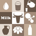 Milk set isolated objects vector illustration eps Royalty Free Stock Photos