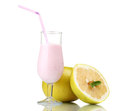 Milk shake and pomelo Stock Images