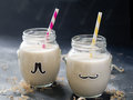 Milk shake vanilla milkshakes in glass selective focus Stock Photography