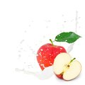 Milk splash apple photo of red with leaf and isolated on white Stock Images
