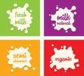 Milk splash set Royalty Free Stock Photo