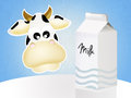 Milk tetra pak illustration of cow and Royalty Free Stock Image