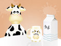 Milk tetra pak illustration of cow and Stock Image