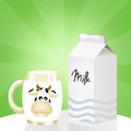Milk tetra pak illustration of and mug Stock Images