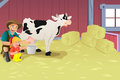 Milking a cow vector illustration of farmer teaching kid how to milk Royalty Free Stock Photography