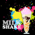 Milkshake with cherry vector illustration Royalty Free Stock Photos