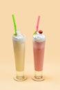 Milkshake in high glass Royalty Free Stock Photo