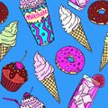 Milkshake, sweet drink, ice creams, donuts and chocolate cupcakes with cherry