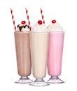 Milkshakes chocolate flavor ice cream set collection Royalty Free Stock Photo