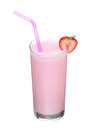 Milkshakes strawberry flavor ice cream isolated on white Royalty Free Stock Photo