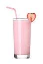 Milkshakes strawberry flavor ice cream on white Royalty Free Stock Photo