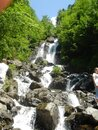 Milky waterfall. Abkhazia Not far from Lake Ritsa. Royalty Free Stock Photo