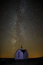 The Milky Way in the background of bright stars in the night sky Royalty Free Stock Photo