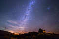 Milky way at the Church of the Good Shepherd, Lake Tekapo, New Zealand Royalty Free Stock Photo