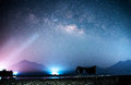 Milky way galaxy on the river and mountain Stock Images