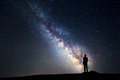Milky Way. Night sky and silhouette of a standing man Royalty Free Stock Photo