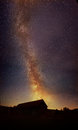 MILKY WAY over WOOD BARN Stock Photography