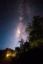 Milky way rising in national park thailand Royalty Free Stock Image
