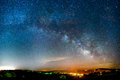 Milky way rising over the ozark mountains Stock Photos