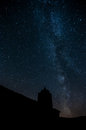 Milky way with a silhouette of a church Stock Photography