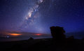 Milkyway Galaxy with blue night sky