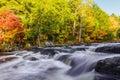 Mill Falls along the Mersey River in fall (Kejimkujik National P Royalty Free Stock Photo