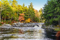 Mill Falls along the Mersey River in fall Royalty Free Stock Photo