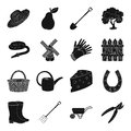 Mill, gloves, fence and other farm equipment. Farm and gardening set collection icons in black style vector symbol stock