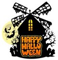 Mill with Happy Halloween sign 1 Royalty Free Stock Image