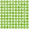 100 mill icons hexagon green