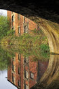 Mill reflection, Leeds Liverpool canal Royalty Free Stock Photo