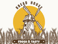 Mill and wheat ears banner Royalty Free Stock Photo