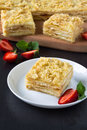 Mille feuille puff pastry known as the napoleon vanilla slice or custard garnished with strawberries Royalty Free Stock Image