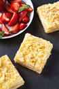 Mille feuille puff pastry known as the napoleon vanilla slice or custard garnished with strawberries Stock Photo