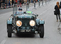 The mille miglia in brescia may healey duncan drone on race drivers kennedy warren kennedy wilailak Stock Photo