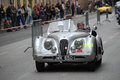 The mille miglia in brescia may jaguar xk ots on race drivers biondetti paola varia stefano Stock Image