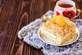 Millefeuille pastry with a cup of tea Royalty Free Stock Photo