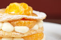 Millefeuille with tangerine tasty dessert Stock Image
