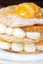 Millefeuille with tangerine tasty dessert Royalty Free Stock Photos