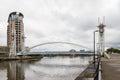 Millenium bridge at the Salford Quays. Royalty Free Stock Photo
