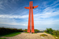 Millenium cross on hail hill in Gdansk Royalty Free Stock Images
