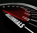 Millennials speedometer youth age speed automotive transportatio word on a to illustrate and young of people in generation y who Royalty Free Stock Images